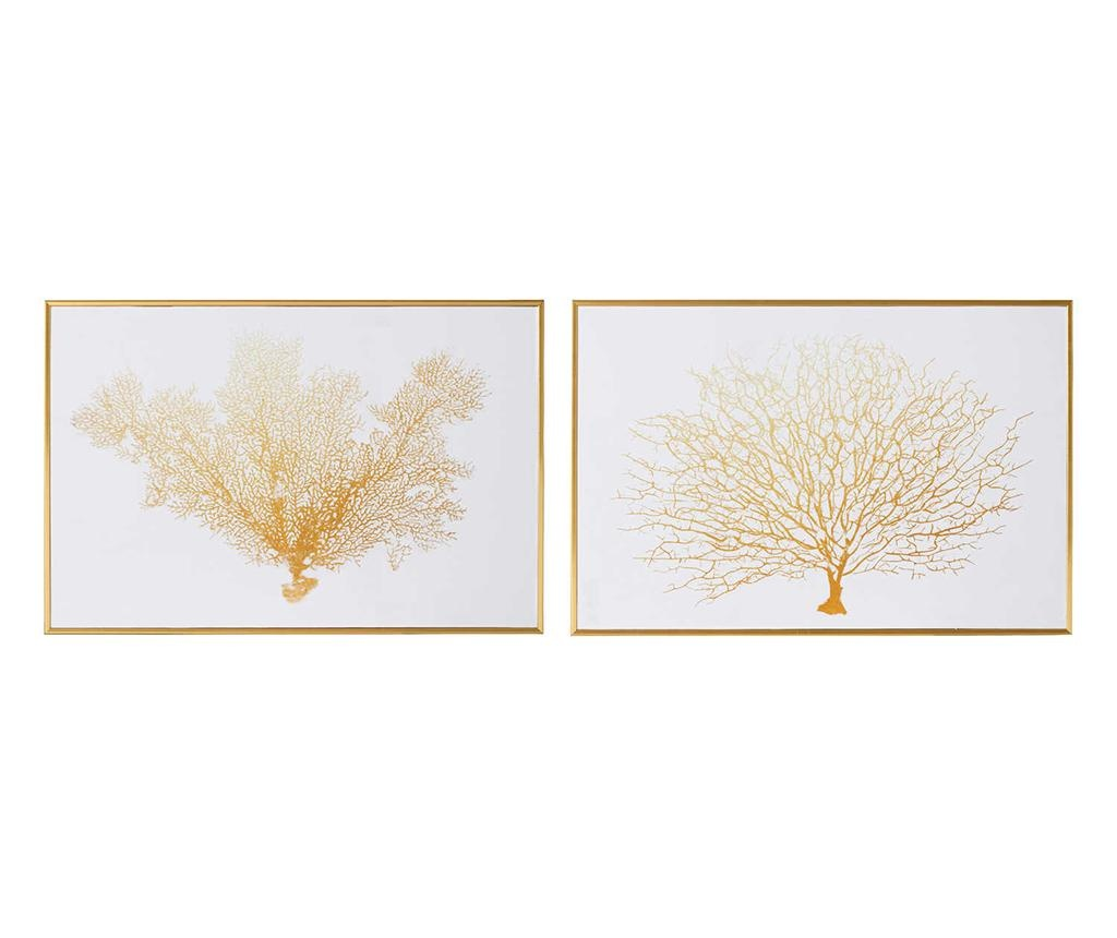 Sada 2 obrazů Coral Tree White Gold 30x45 cm