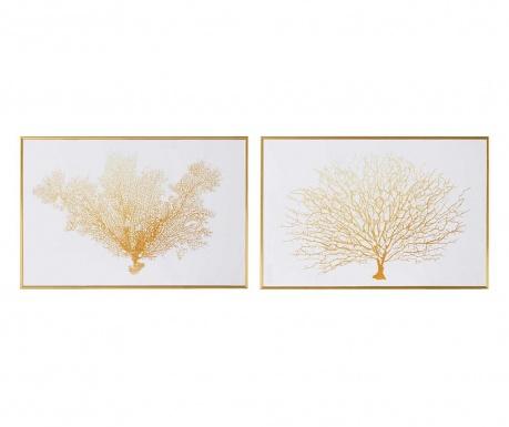 Zestaw 2 obrazów Coral Tree White Gold 30x45 cm