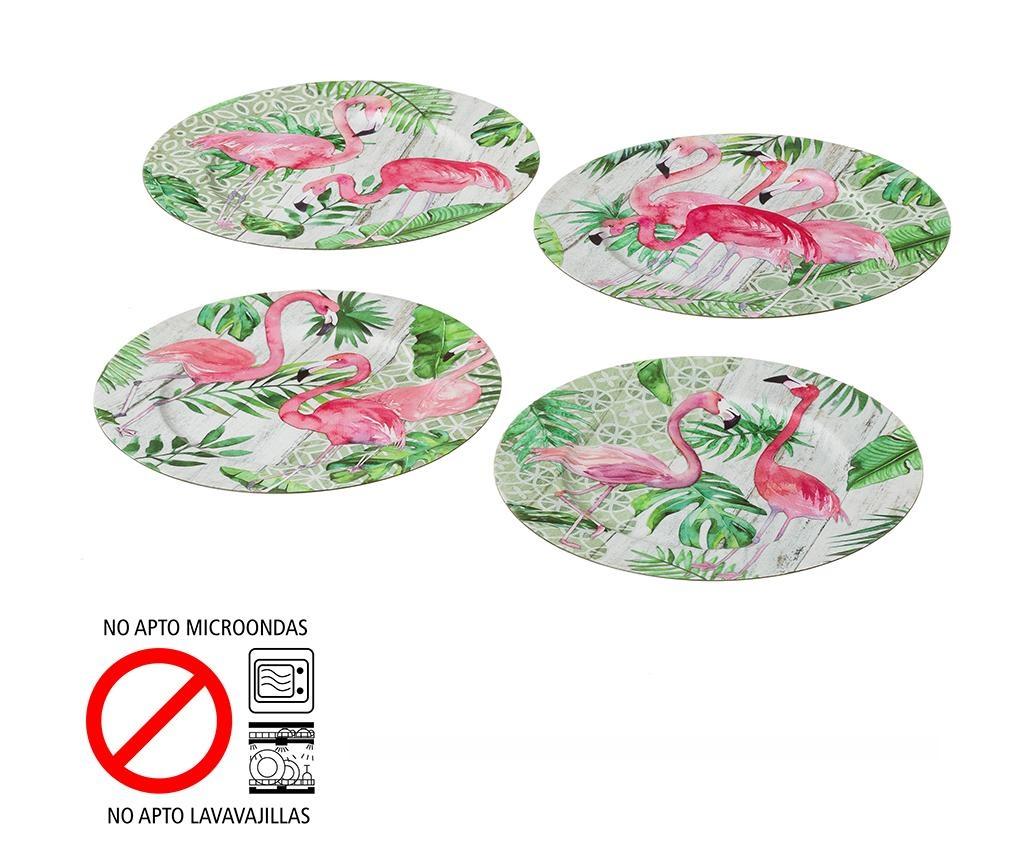 Sada 4 jednorázových podnosov Flamingo Party