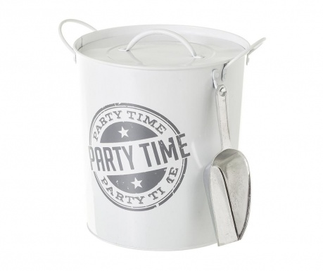 Vedro za led s pokrovom Party Time White Grey 3 L