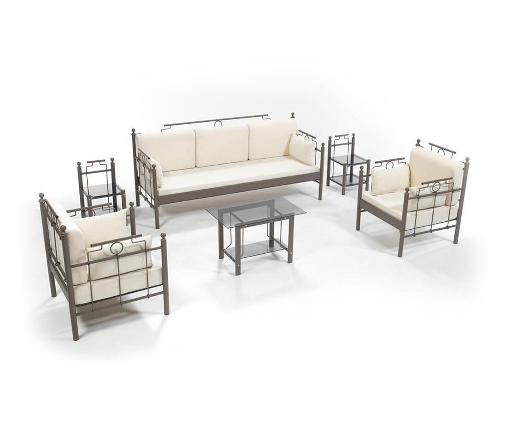 Set kauč trosjed i 2 fotelje za vanjski prostor Hatkus Brown Beige