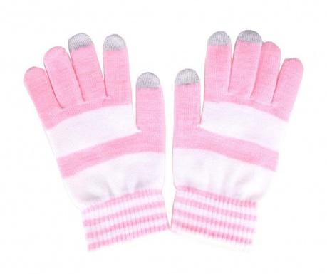 Дамски Touchscreen ръкавици Akashi Stripes Pink White S-M