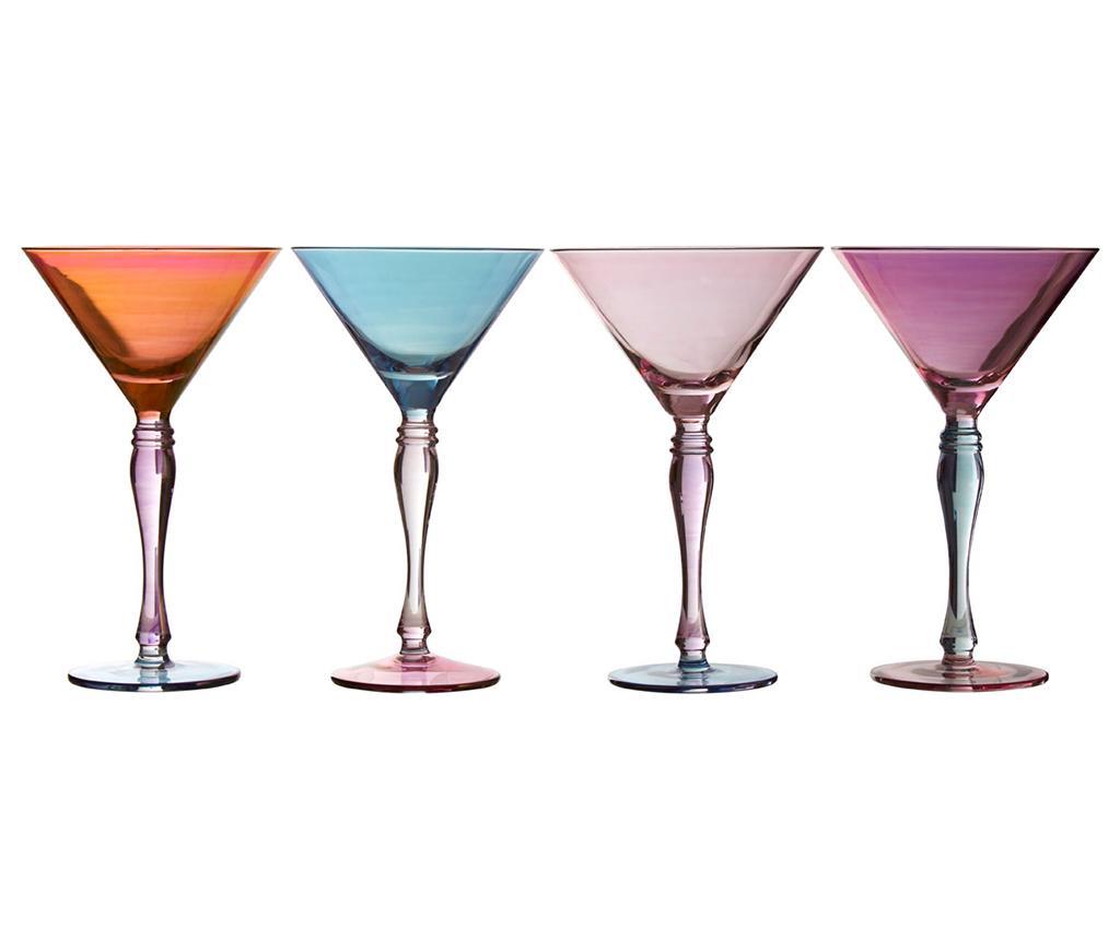 Set 4 pahare pentru cocktail Aurora 240 ml - Premier, Multicolor