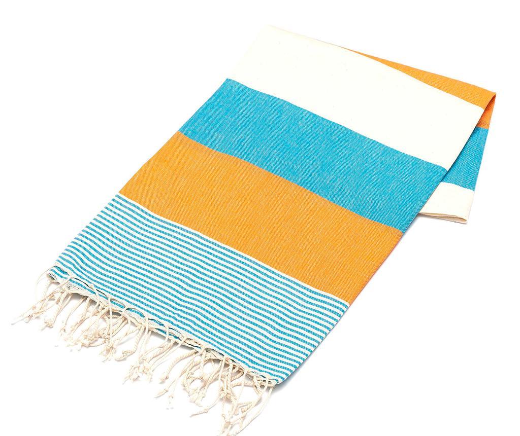 Prosop de plaja Fouta American Light Blue & Orange 100x180 cm - Eponj Home, Multicolor