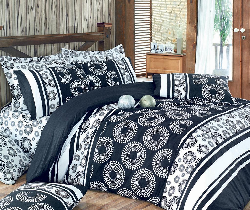 Lenjerie De Pat Double Ranforce Circles Black - Pearl Home
