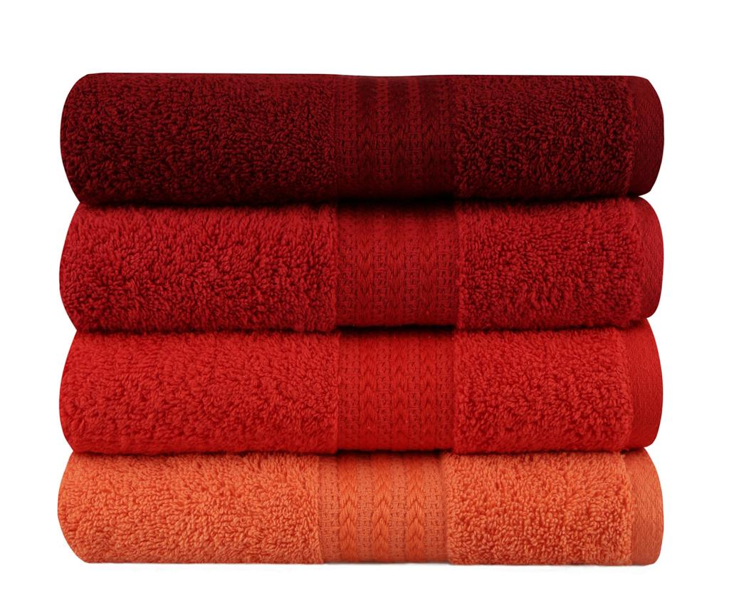 Set 4 prosoape de baie Shades Red 50x90 cm - Hobby