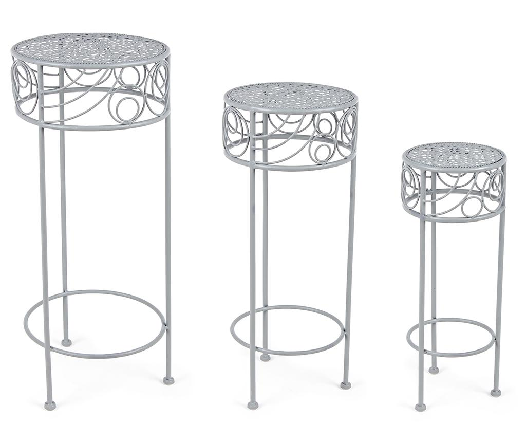 Set 3 suporturi pentru ghivece Marlene Grey - Bizzotto, Gri & Argintiu