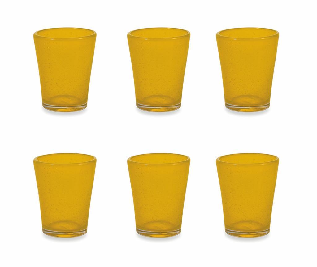 Set 6 pahare pentru apa Cancun Satin Yellow 330 ml - Villa D'Este Home Tivoli, Galben & Auriu