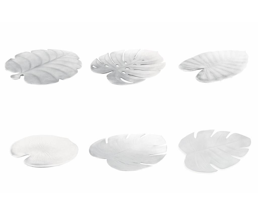 Set 6 suporturi farfurii Foglie Silver 40x45 cm - Villa D'Este Home Tivoli, Gri & Argintiu