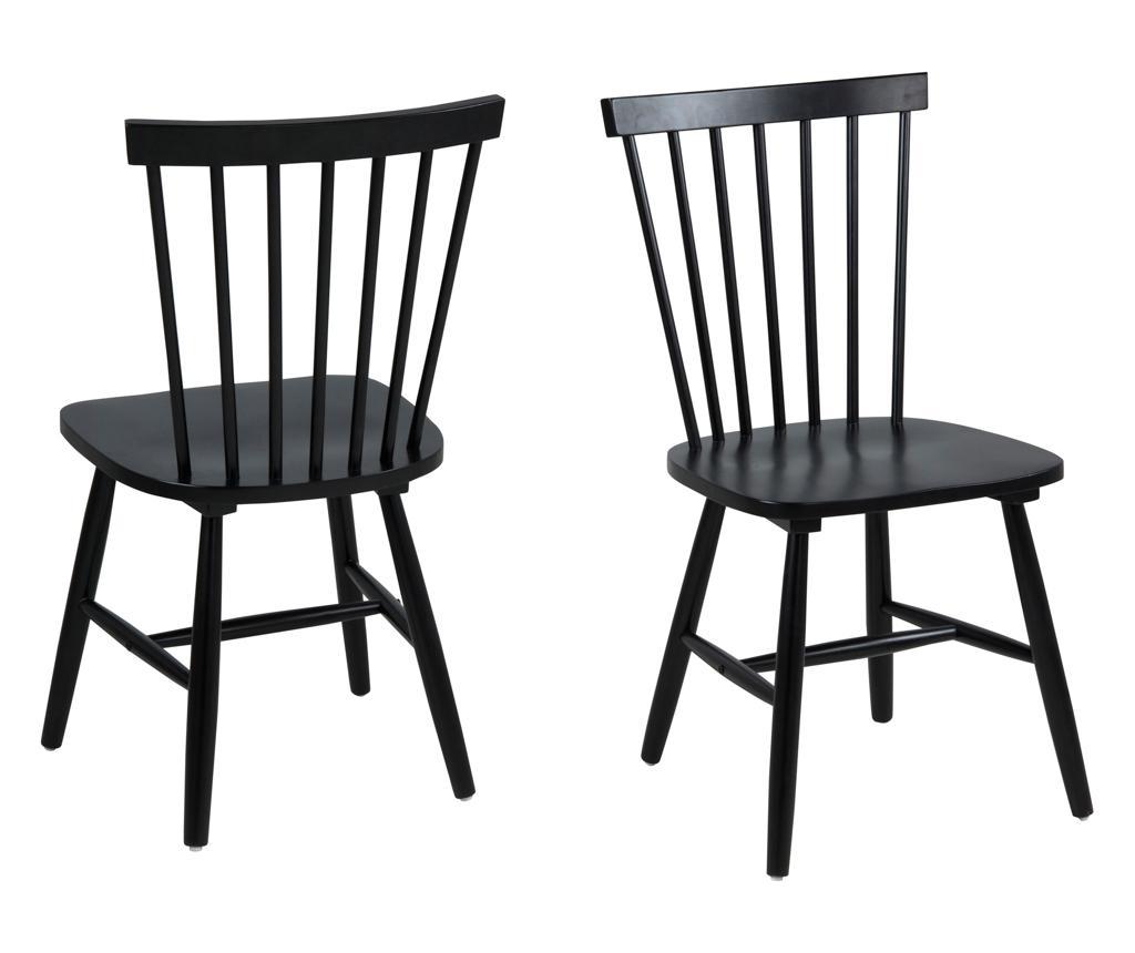 Set 2 scaune Riano Black - actona, Negru