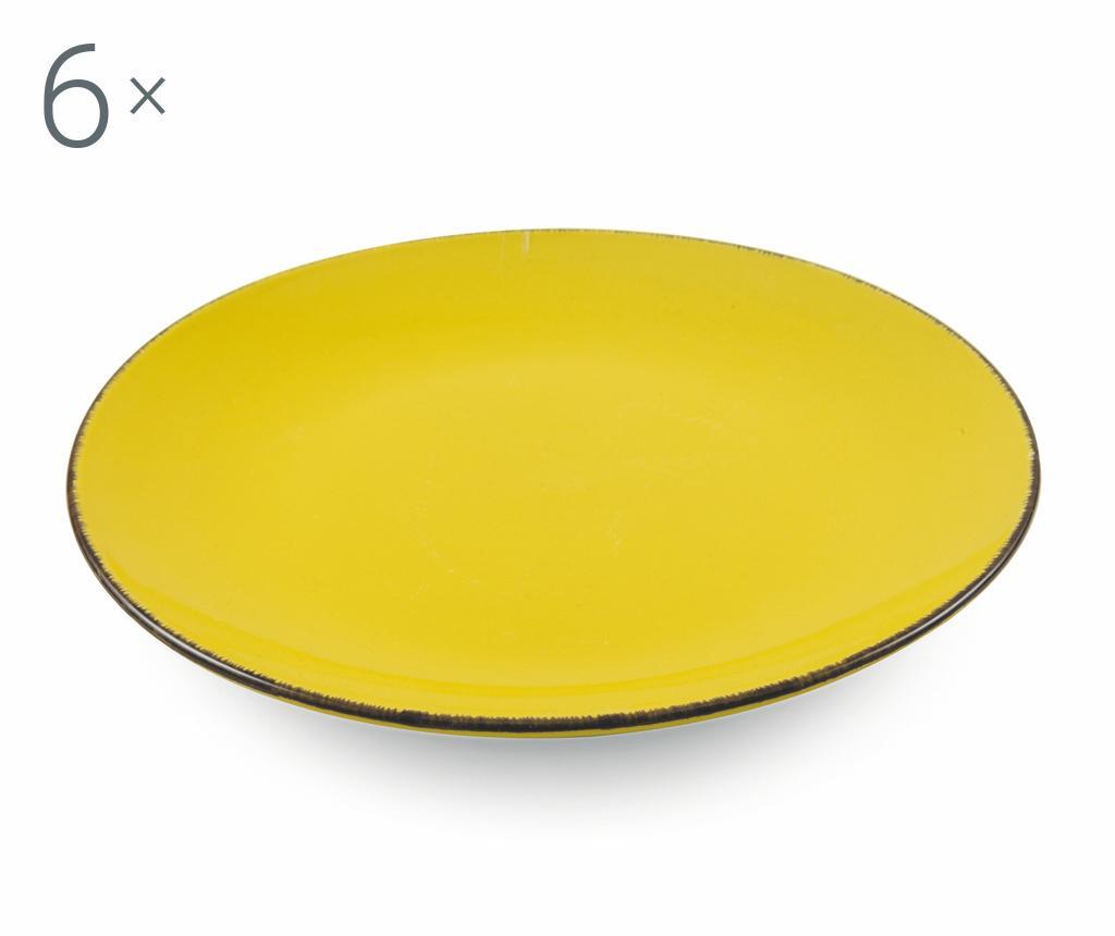 Set 6 farfurii intinse Baita Yellow - Villa D'Este Home Tivoli, Galben & Auriu
