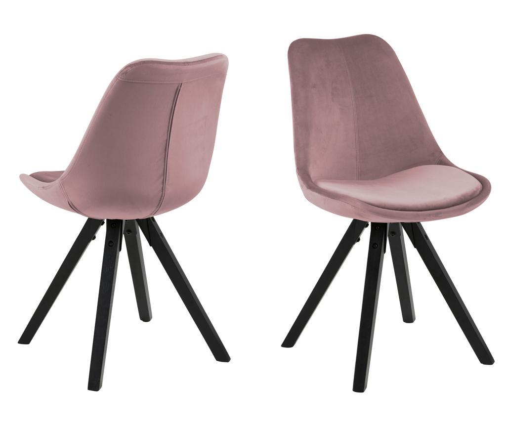 Set 2 scaune Dima Black Rose - actona