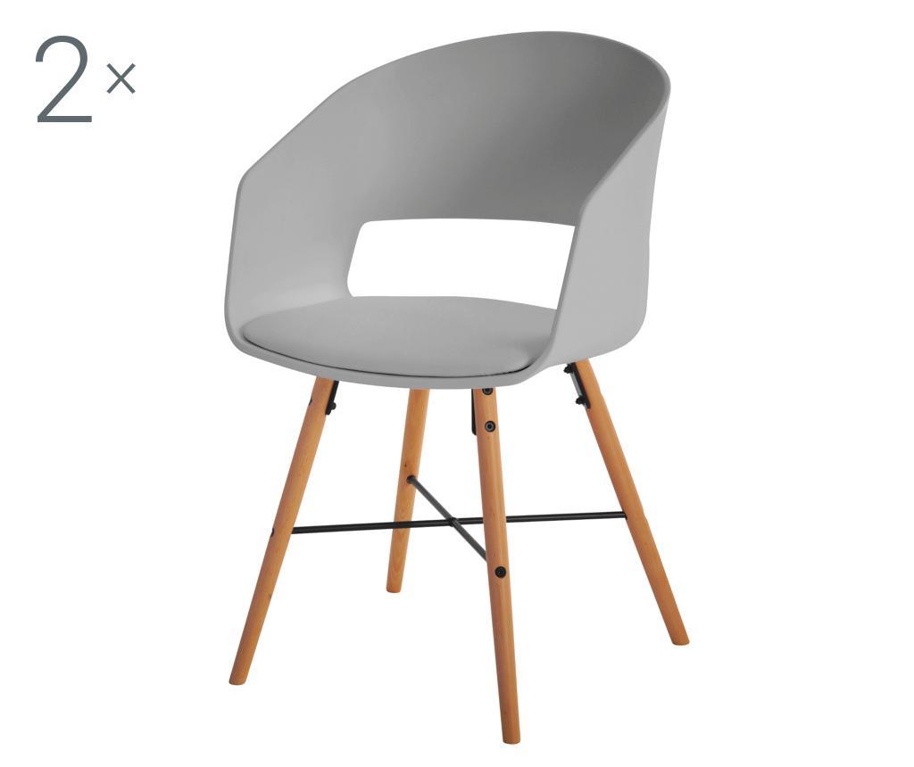 Set 2 scaune Luna Grey - actona, Gri & Argintiu