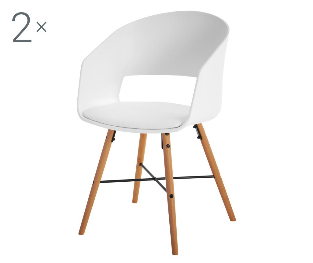 Set 2 scaune Luna White Cream - actona