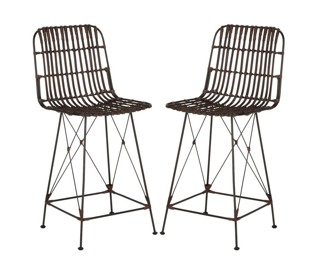 Set 2 scaune de bar Langford Black - Safavieh, Negru