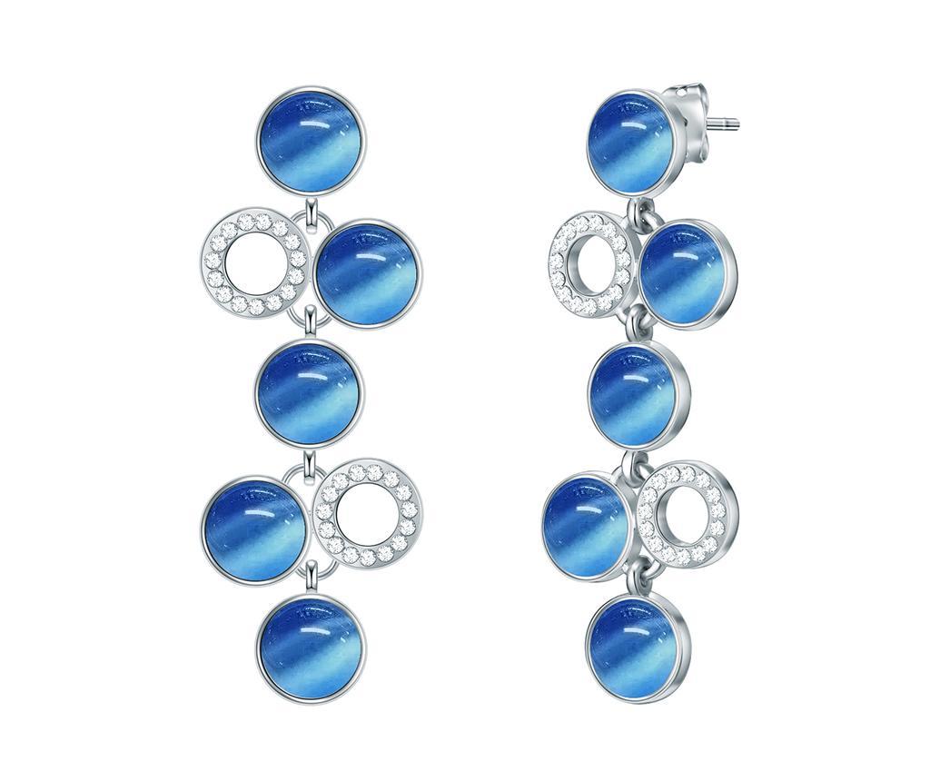 Cercei Swarovski Circle Silver Blu - Saint Francis Crystals, Albastru,gri & Argintiu