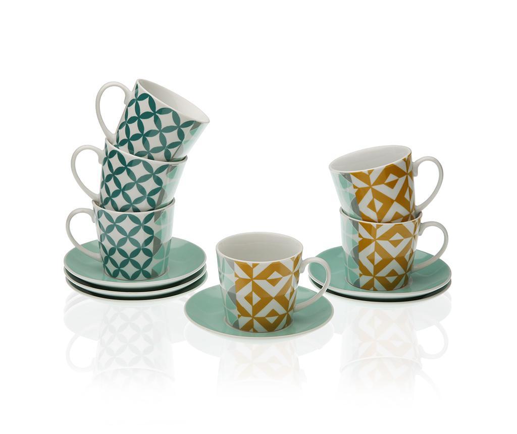 Set 6 cesti si 6 farfurioare pentru ceai Joy - Versa, Albastru