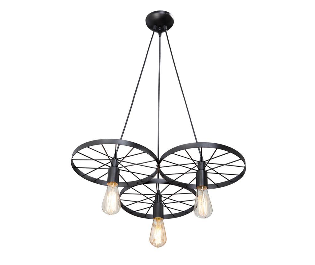 Lustra Wheel Three Black - Vitaluce, Negru