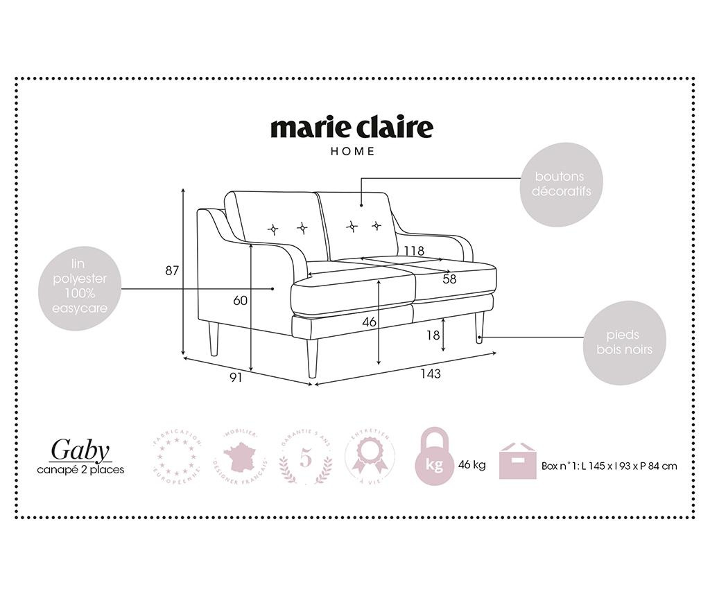 Gaby Anthracite Kétszemélyes kanapé