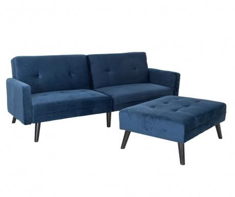 Set sofa extensibila si taburet pentru picioare Dream Blue