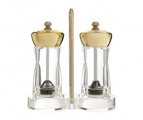 Set 2 mlinčkov in držalo Clear Gold