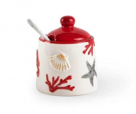 Set - sladkornica s pokrovom in čajna žlička Coral