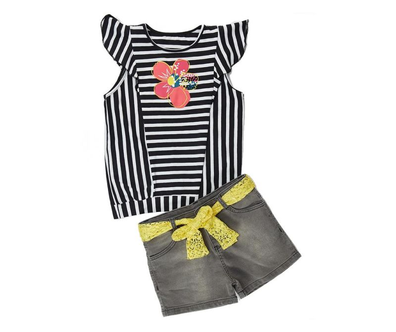 Set tricou si pantaloni pentru copii Flowers and Stripes 6 ani