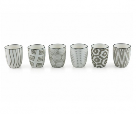 Set 6 čaše za čaj Grey Confusion 90 ml