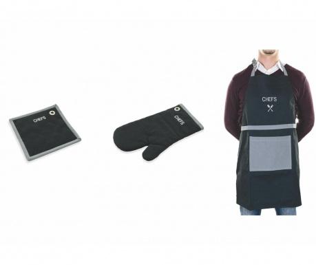 Set kuhinjska pregača, Set rukavica i podmetač za vruće posuđe Chefs