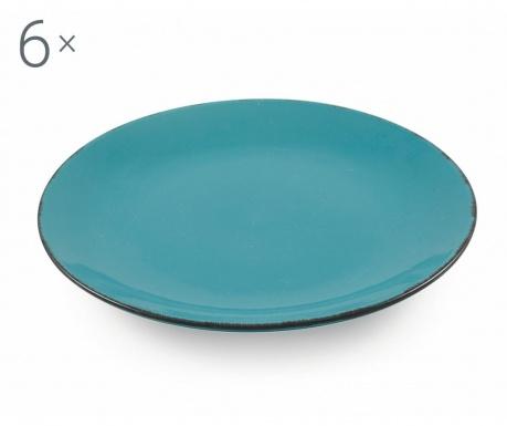 Sada 6 plytkých tanierov Baita Turquoise