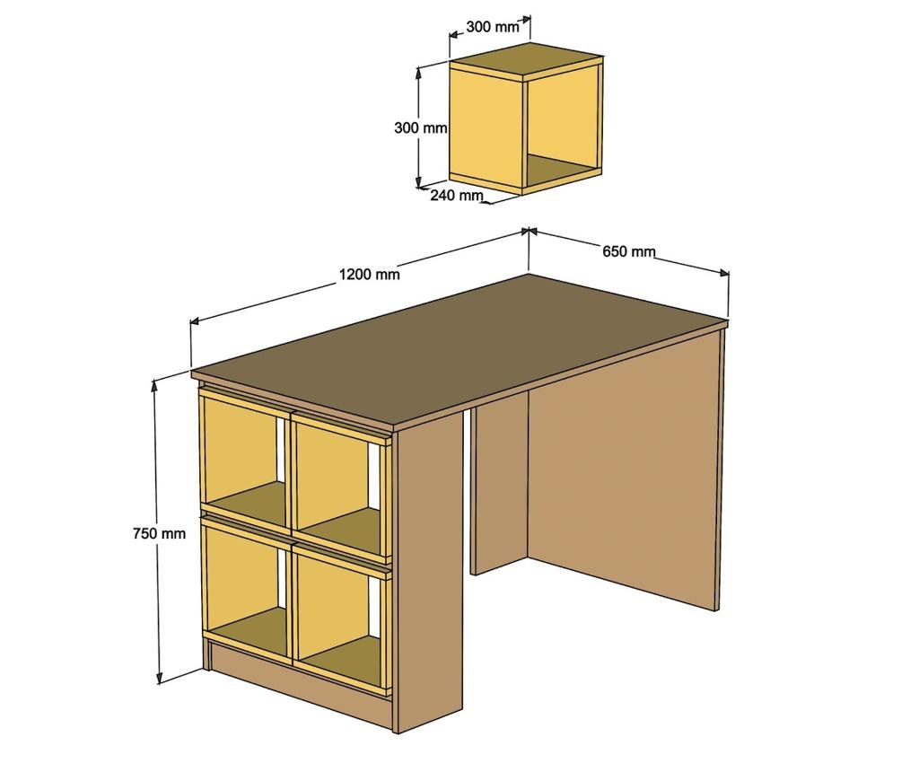 Set birou si raft de perete Box Walnut Cream