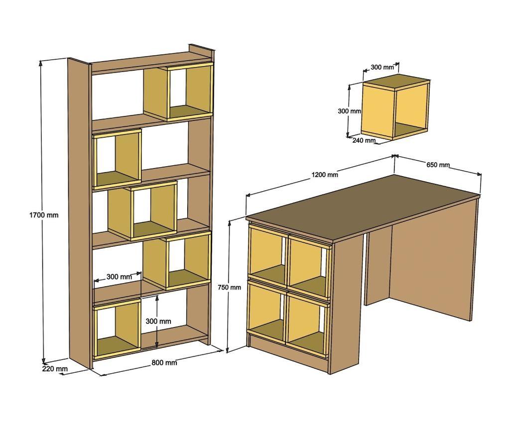 Box Walnut Cream Íróasztal, könyvespolc és fali polc