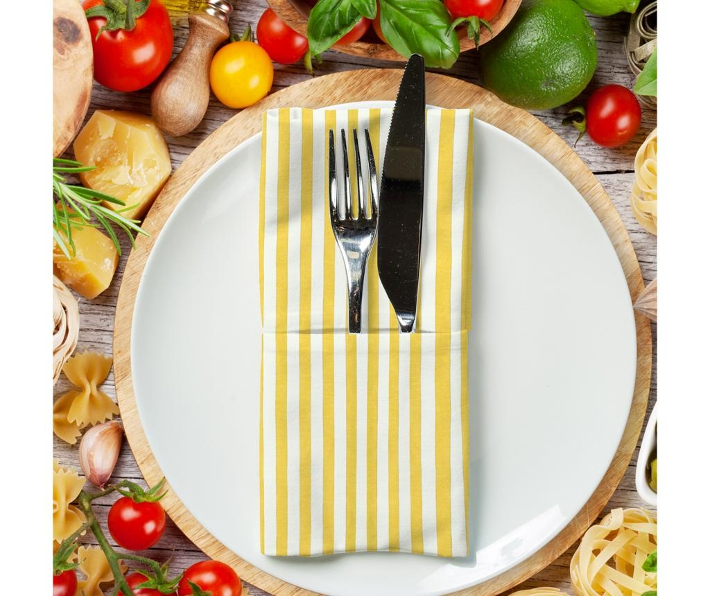 Set 2 stolnih ubrusa American Stripes Yellow 40x40 cm