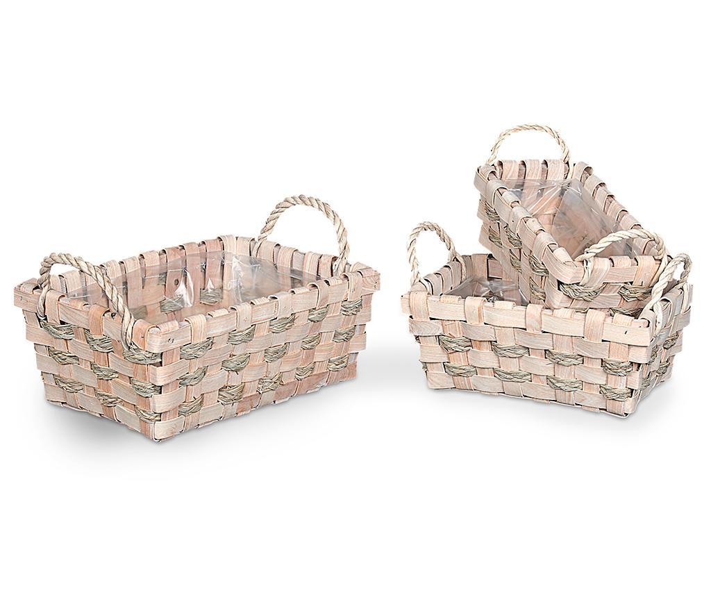 Set 3 ghivece Knit Lace - Disraeli, Crem