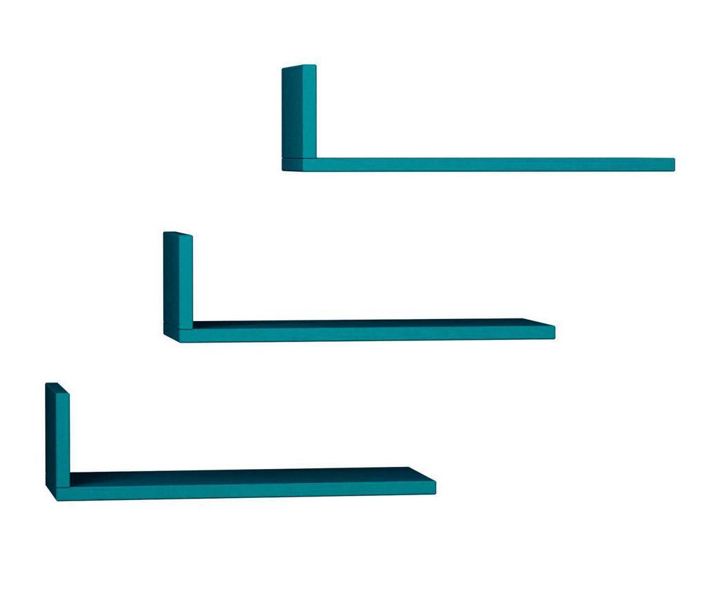 Set 3 Rafturi De Perete Model Turquoise - Decortie, Albastru