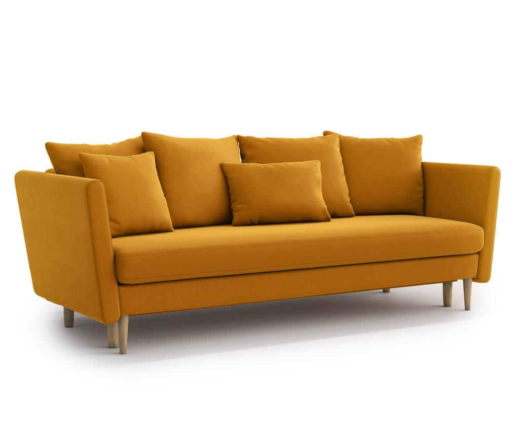 Canapea Extensibila Joleen Golden Velvet Galben Auriu - 3564
