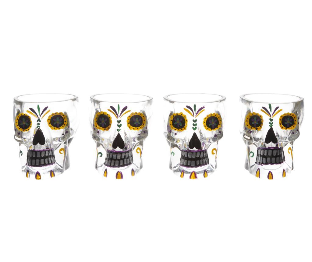 Set 4 pahare shot Tiki Skull - Cosy & Trendy, Alb