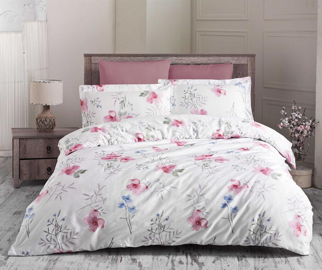 Lenjerie de pat King Satin Supreme Blomster Pink - Prima Casa