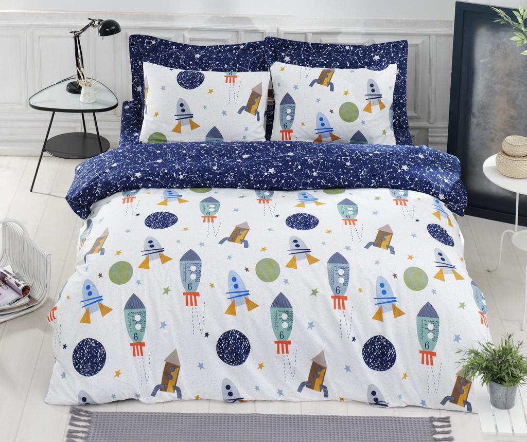 Lenjerie de pat King Ranforce Spacex Dark Blue - EnLora Home, Albastru de la EnLora Home