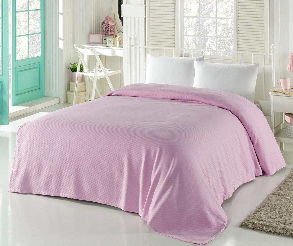 Cuvertura Pique Jakarlı Pink 200x240 cm - Bella Carine by Esil Home, Roz