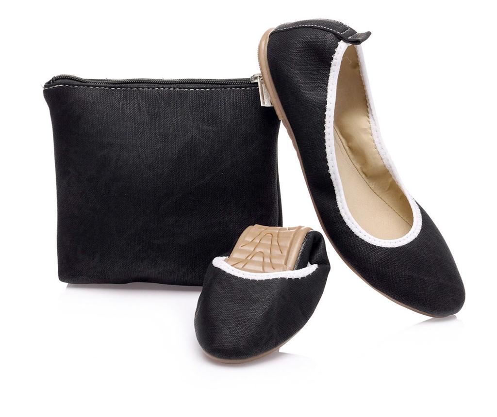 Balerini dama cu geanta de transport Soft Line Black 39 - Foldy, Negru