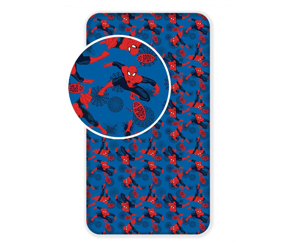 Cearsaf de pat cu elastic Spiderman 90x200 - Spider-Man by Marvel, Multicolor