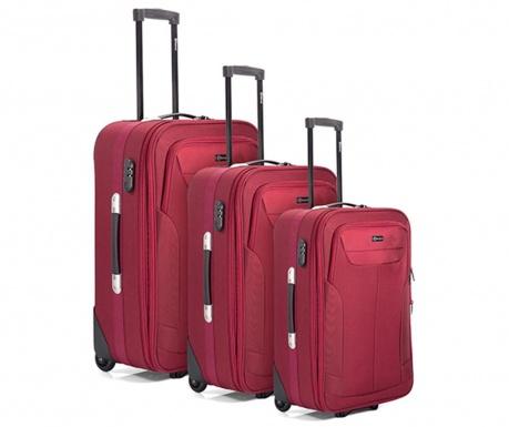 Set 3 kovčkov na kolesih Jerrod Red