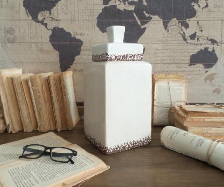 Vas decorativ cu capac White Antique 33 Cm