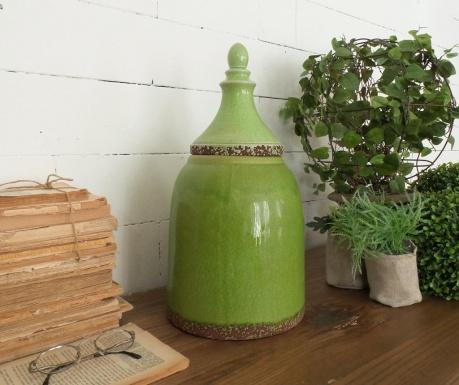 Vas decorativ cu capac Green Antique 43 Cm