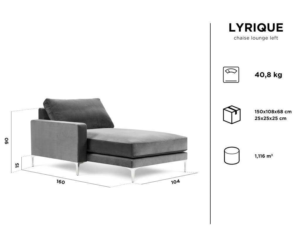 Lyrique Light Grey Baloldali nappali heverő