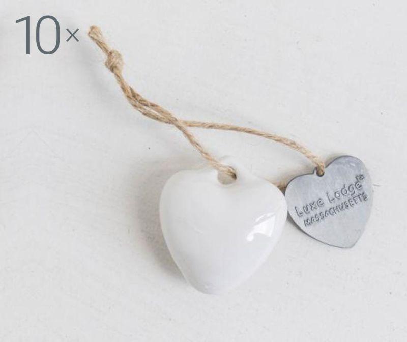 Set 10 decoratiuni suspendabile Heart White