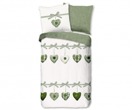 Posteljnina King Hearts Green