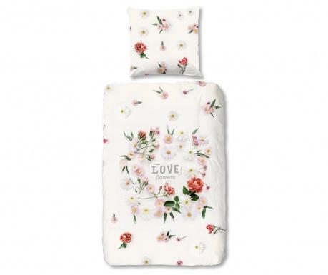 Posteljnina Single Flowers White