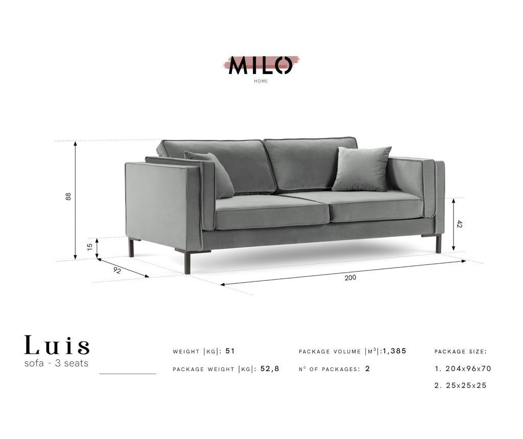 Luis Light Blue Háromszemélyes kanapé